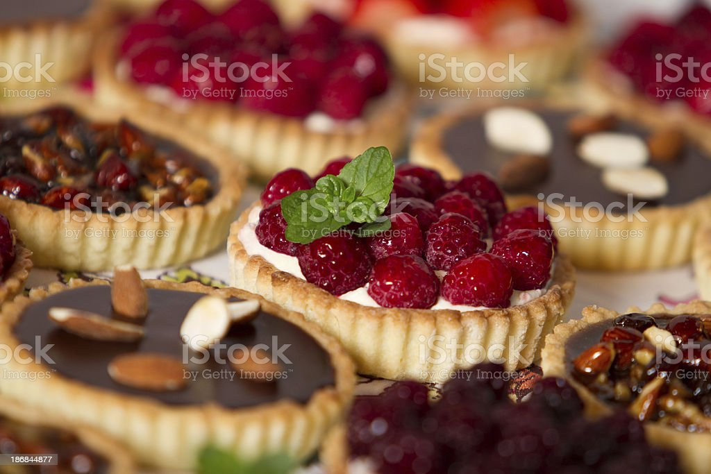 Tempting pastries and pies stock photo