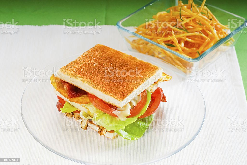 Tempting, succulent club sandwich.  royalty-free stock photo