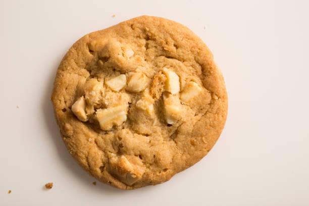 A tempting sweet single white homemade macadamia nut and white chocolate cookie stock photo