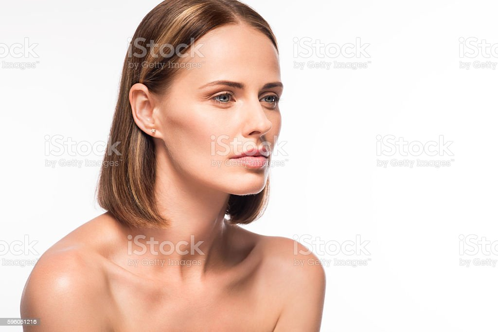 Tempting young woman without make up royalty-free stock photo