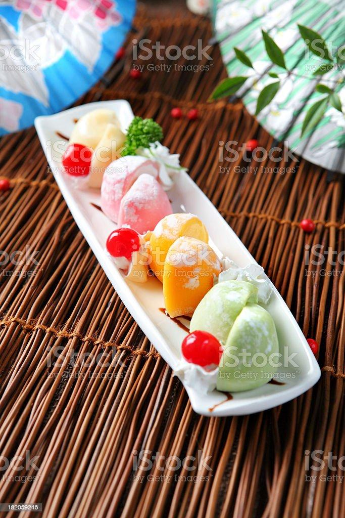 Tempura & Mochi Ice cream royalty-free stock photo