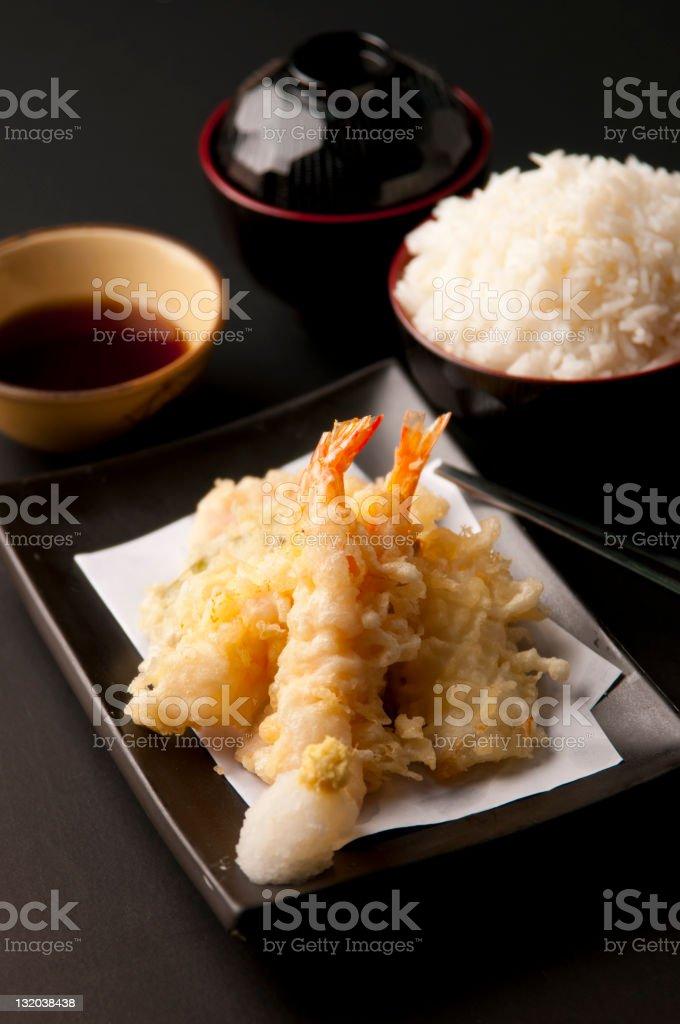 Tempura Moriawase with rice stock photo