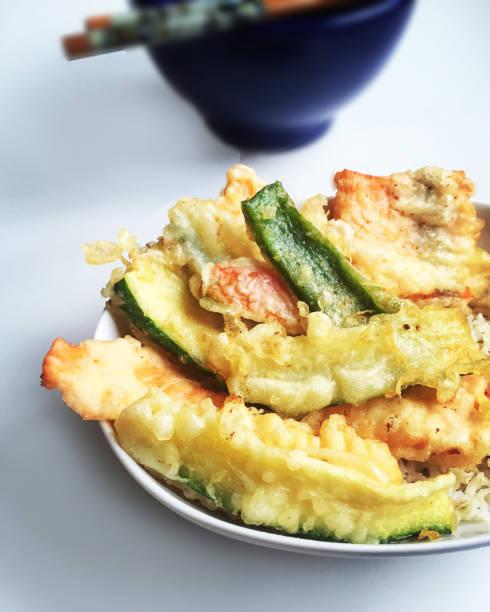 tempura on white background. - fritto foto e immagini stock