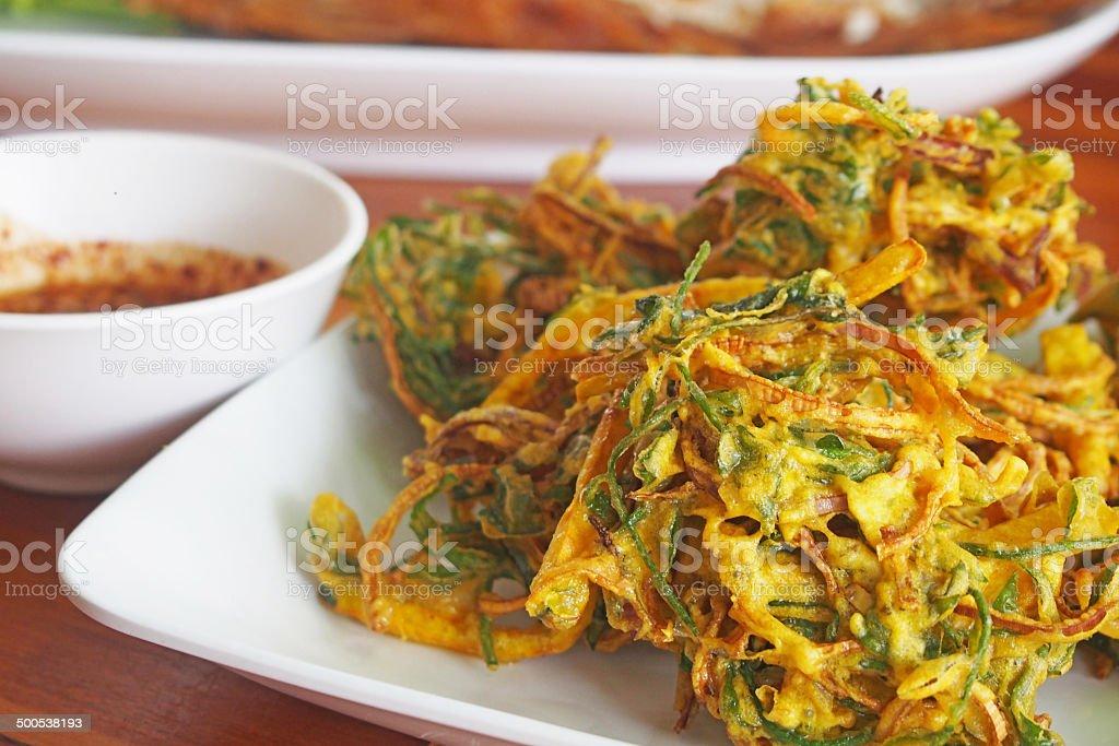 tempura vegetables on white plate stock photo