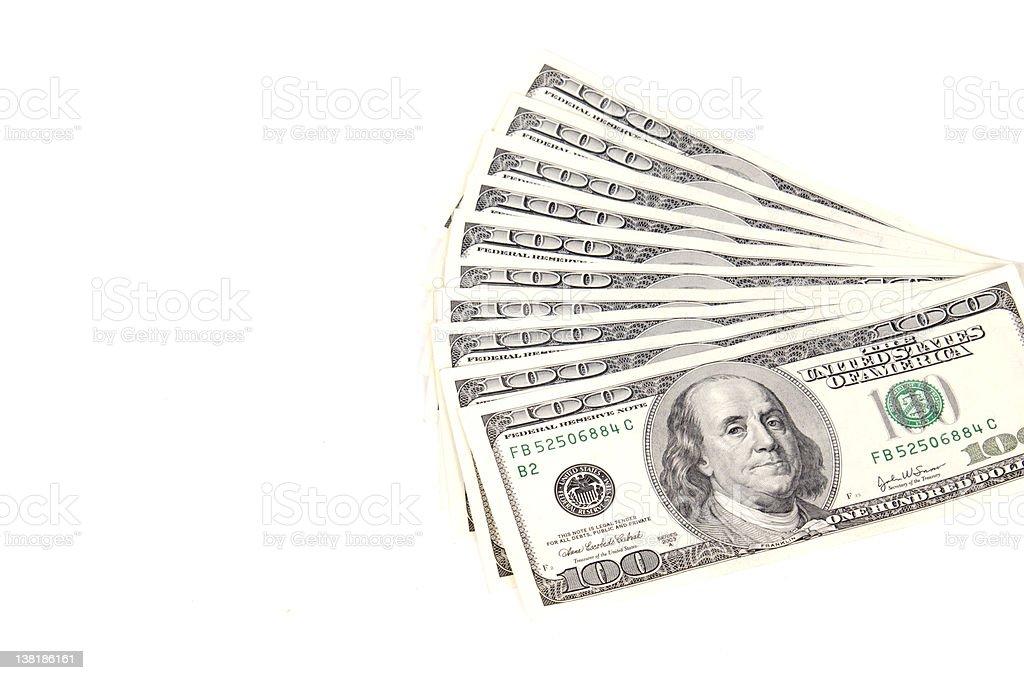 Ten $100 bills royalty-free stock photo