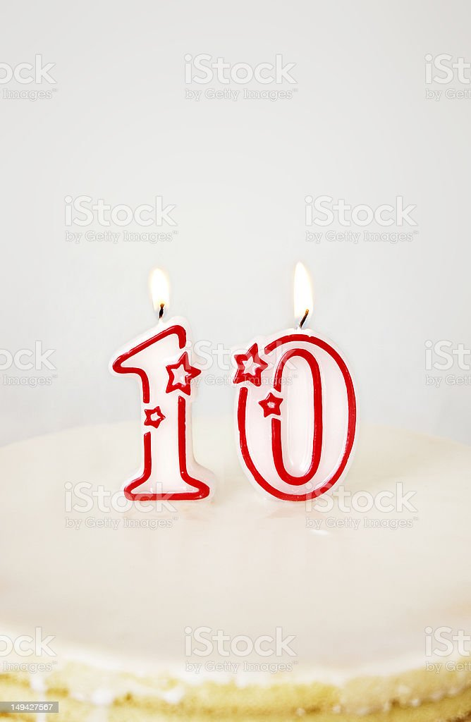 Ten Birthday Candle. royalty-free stock photo
