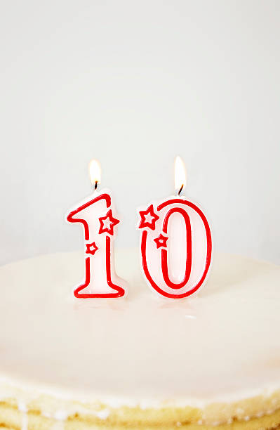 Ten Birthday Candle. stock photo