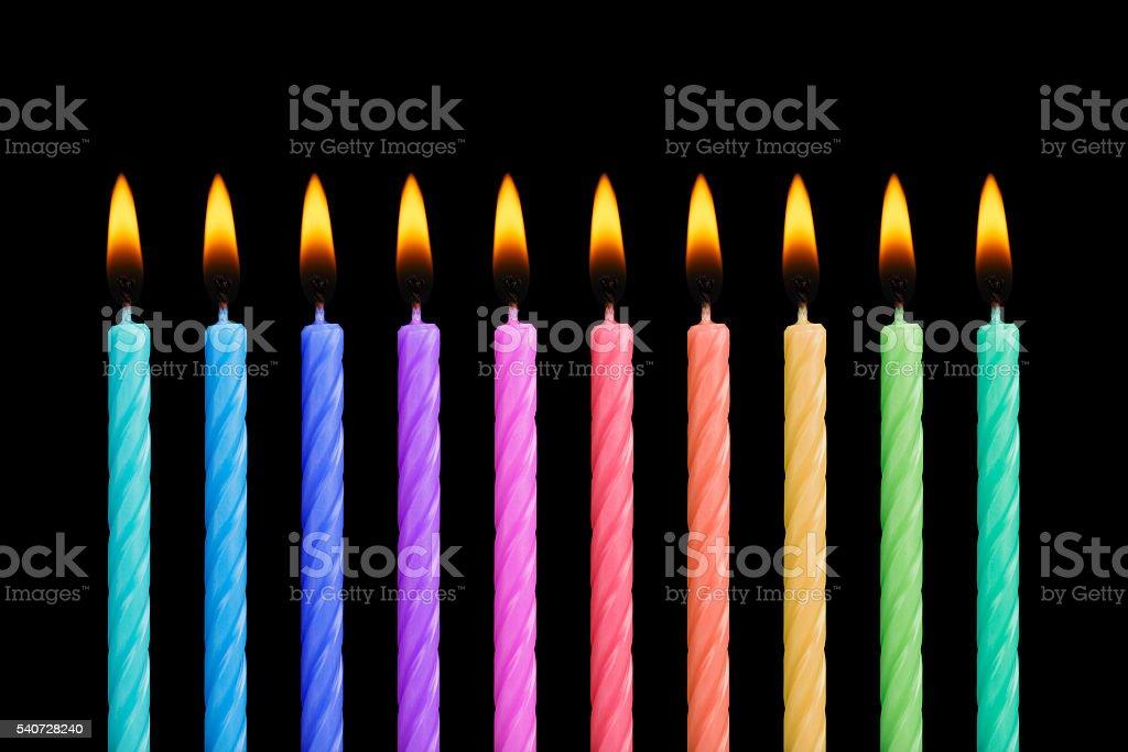 Ten Birthday Candles stock photo