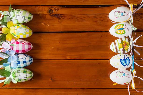 Ten colorful handmade easter eggs stock photo