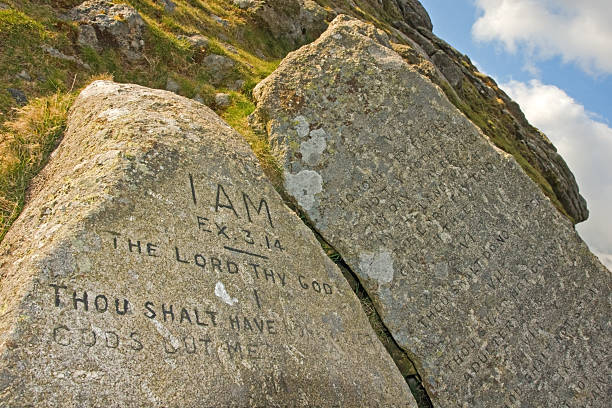Ten commandment stones on Dartmoor National Park stock photo