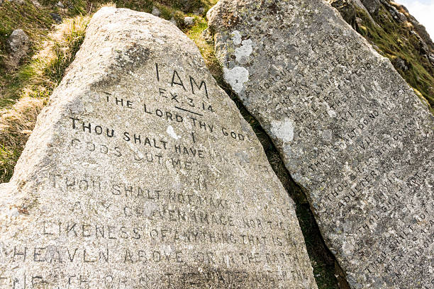 Ten commandment stones on Dartmoor stock photo