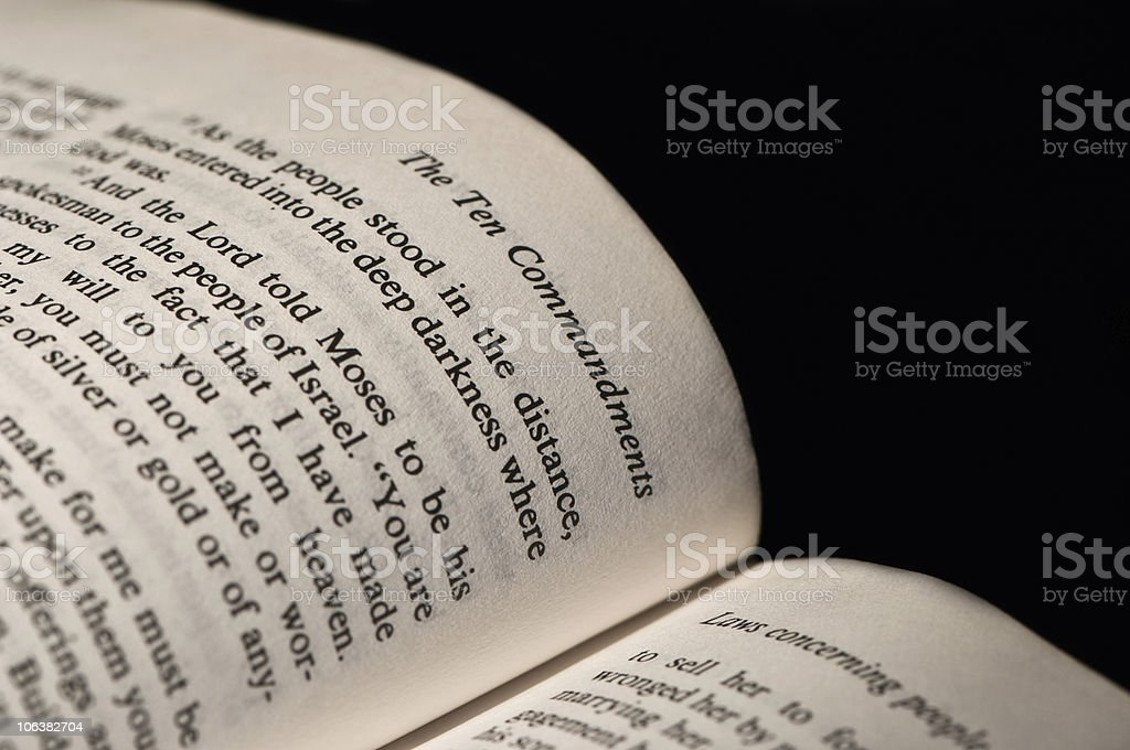 Ten Commandments. Black and White stock photo