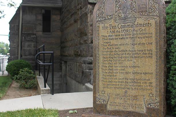 Ten Commandments in stone stock photo