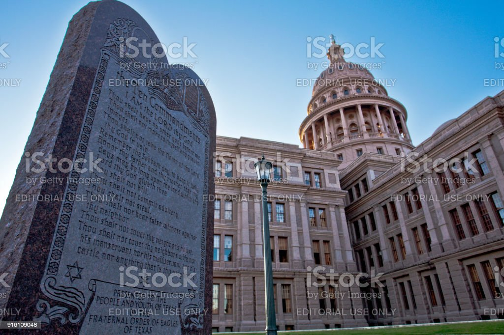 Ten Commandments in Texas stock photo