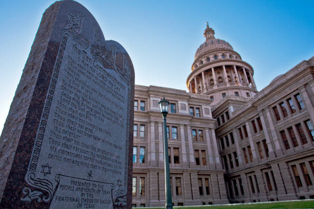 Ten Commandments in Texas stock photo