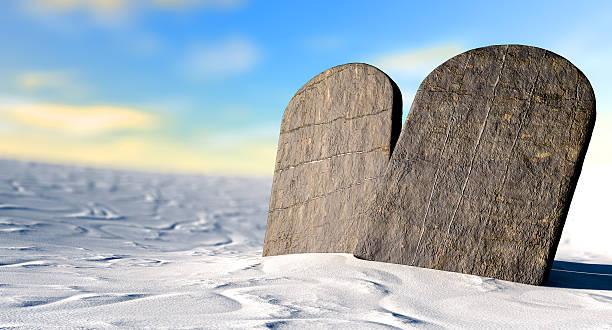 Ten Commandments Standing In The Desert stock photo
