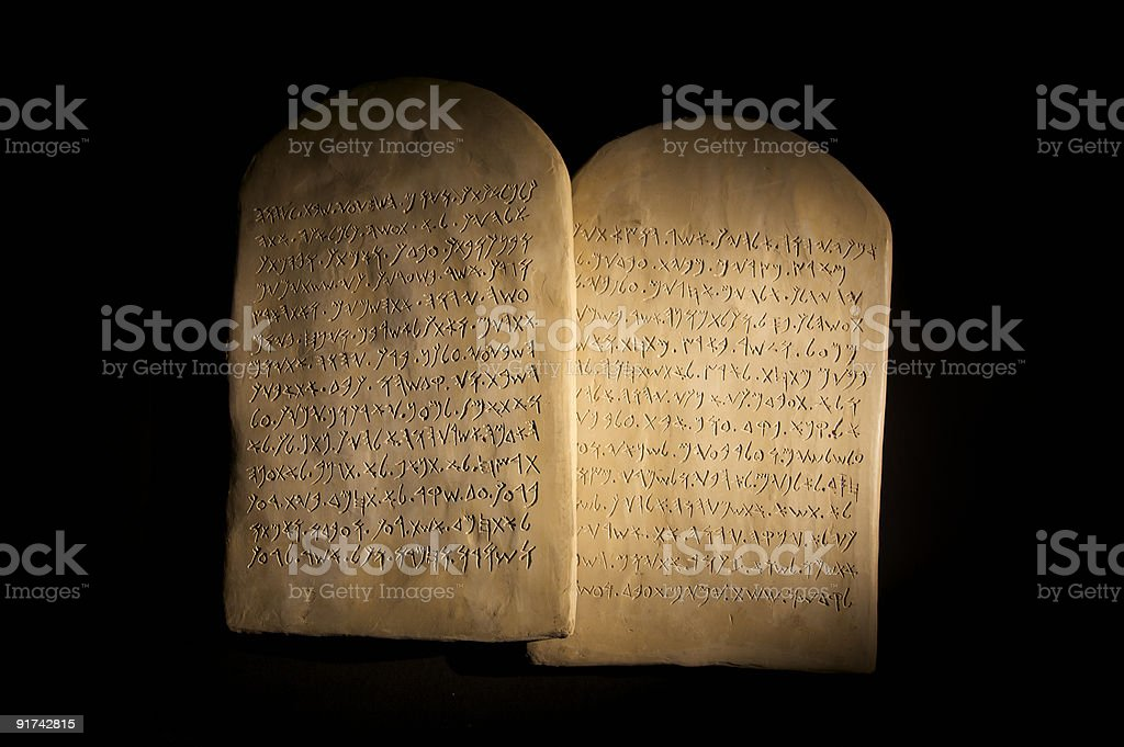 Ten Commandments Tablets stock photo