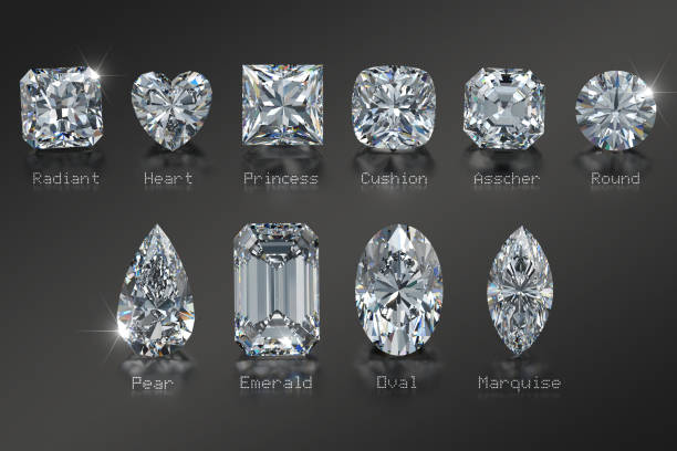 Ten diamonds of the most popular cut styles with titles on black background Diamond cut styles with names: radiant, heart, princess, cushion, asscher, round, pear, emerald, oval, marquise gemstone stock pictures, royalty-free photos & images