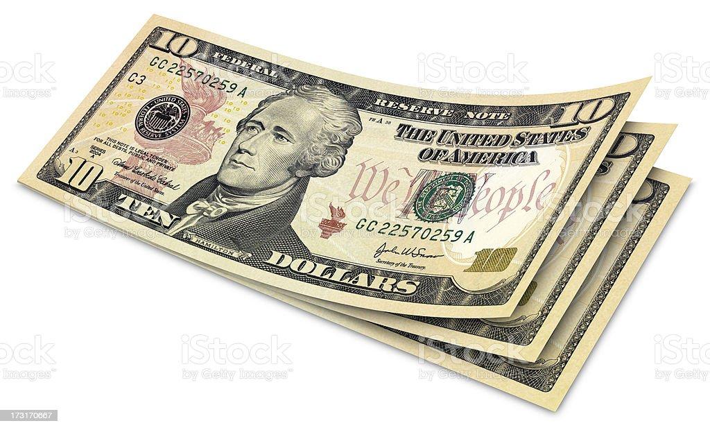 Ten Dollar Banknotes stock photo