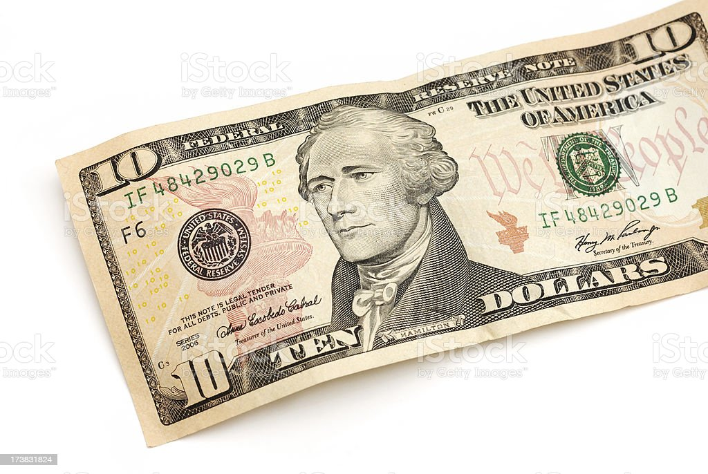 Ten dollar bill partial view with Andrew Jackson portrait royalty-free stock photo
