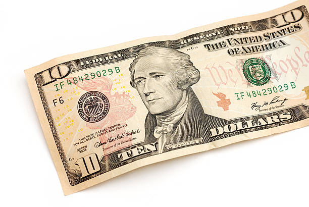 Ten dollar bill partial view with Andrew Jackson portrait stock photo