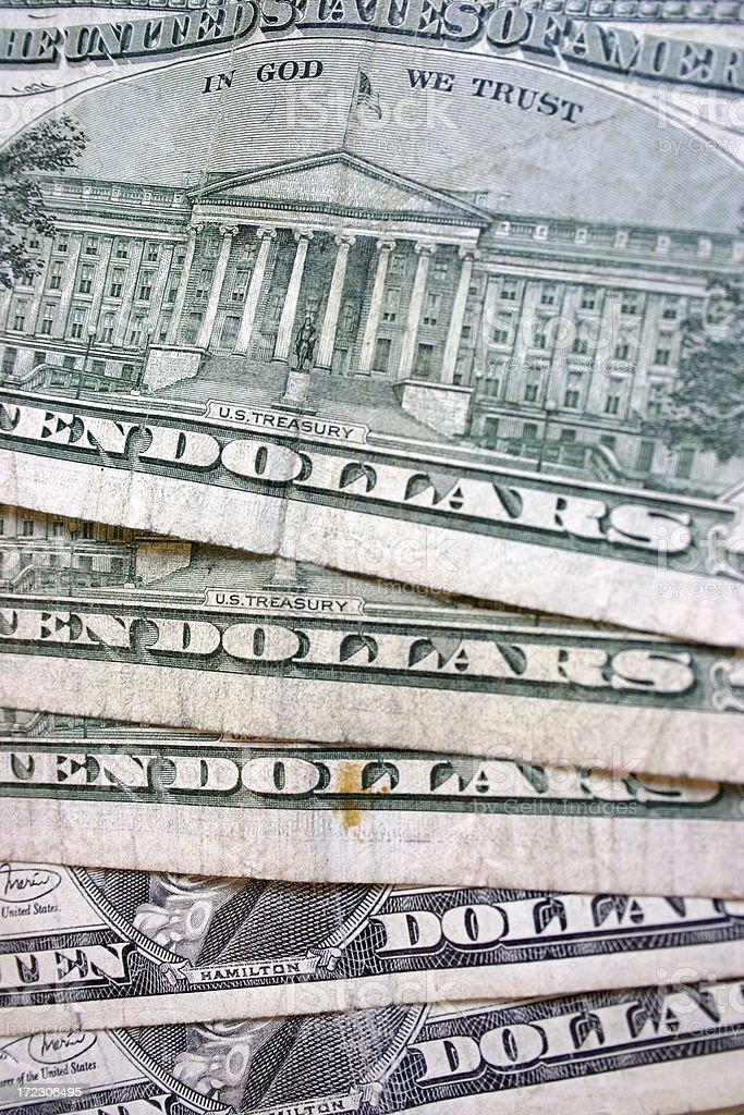Ten Dollar Bills 2 stock photo