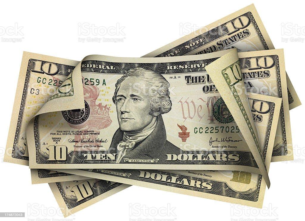 Ten Dollars banknotes stock photo