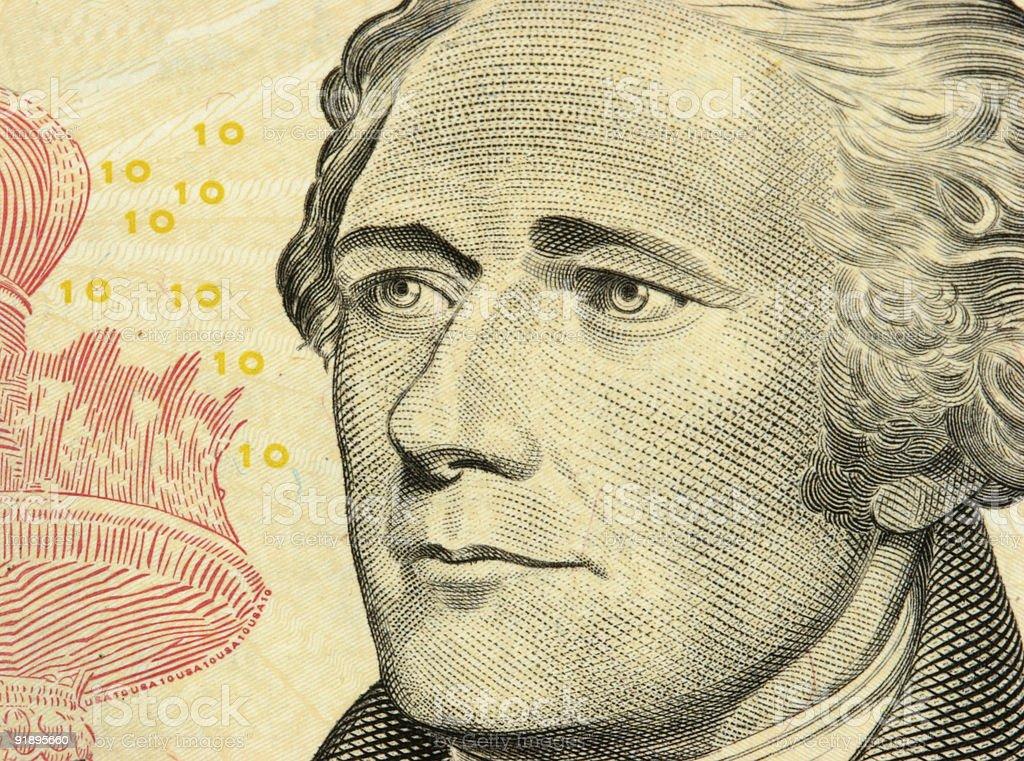 Nota de Dez Dólares detalhe - foto de acervo