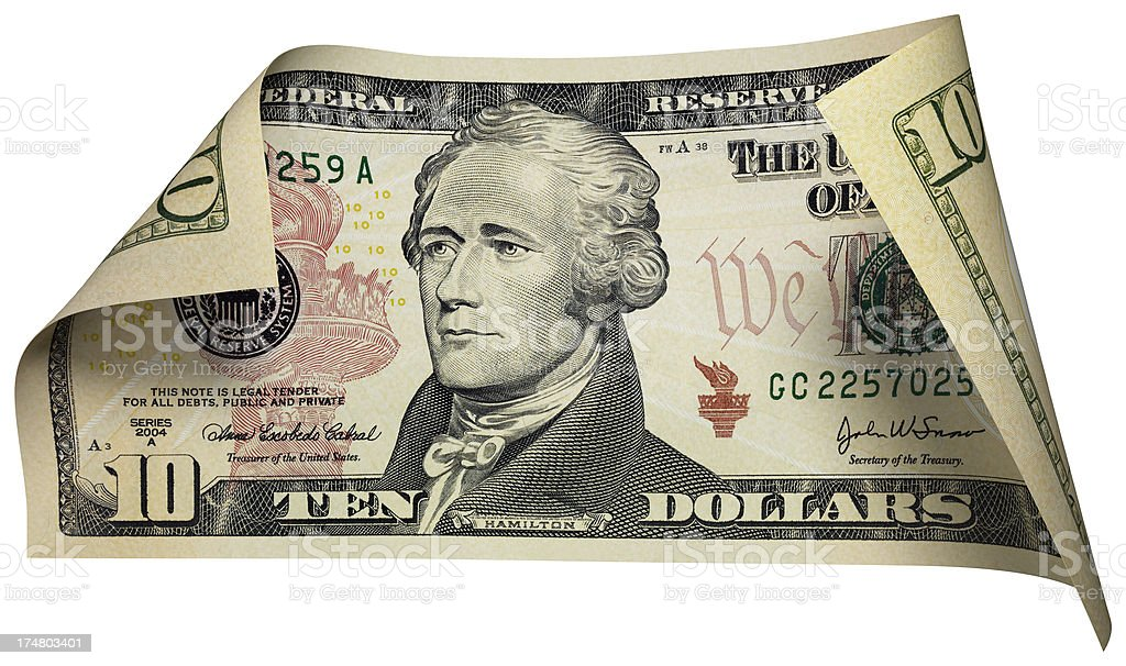 Ten dollars Bill stock photo