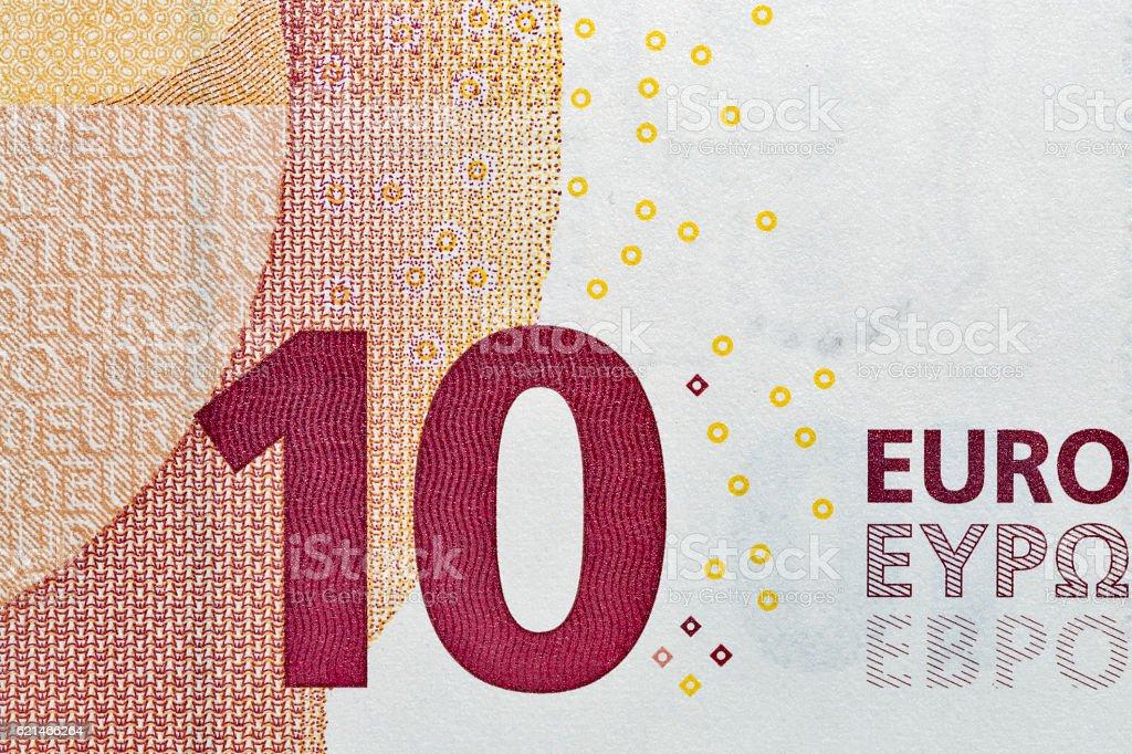 Ten Euro banknote closeup stock photo