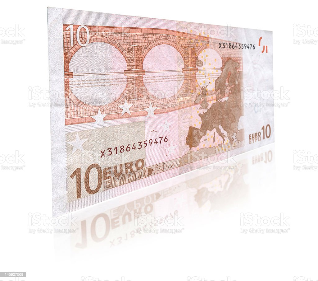 Ten Euro banknote with reflection stock photo