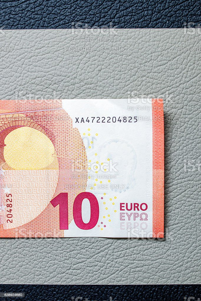 Ten Euro paper currency detail stock photo