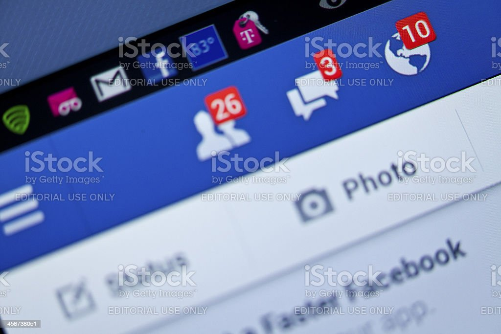 Ten Facebook notifications stock photo