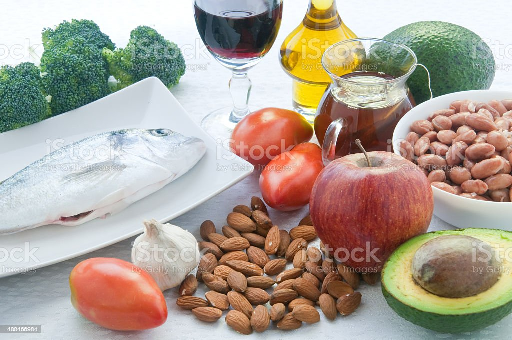 ten foods to lower cholesterol stock photo