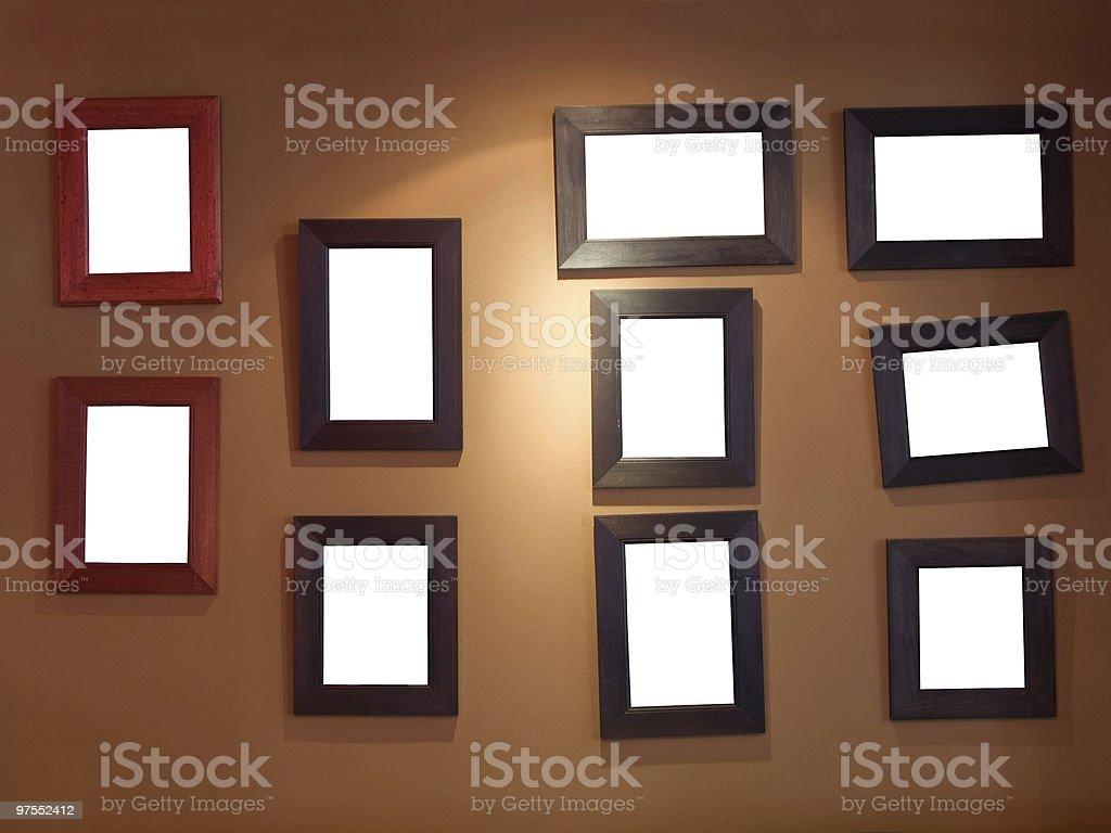 Dix cadres sur le mur photo libre de droits