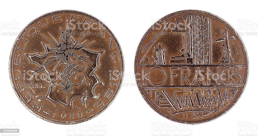 Ten Francs royalty-free stock photo