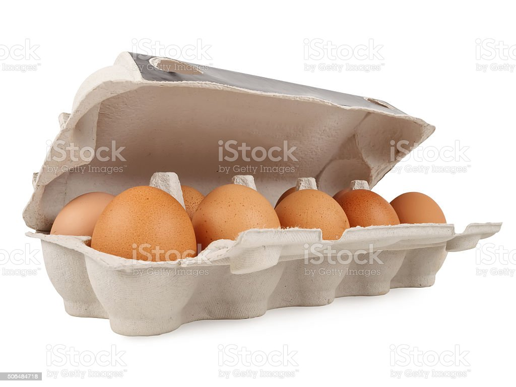 Ten fresh eggs stock photo
