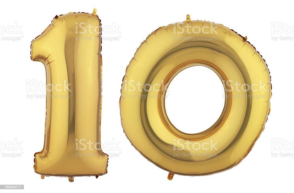 Ten gold balloon stock photo