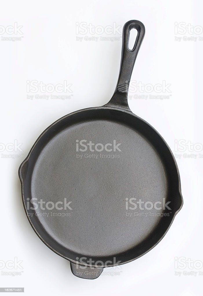 Ten inch nonstick cast iron skillet stock photo