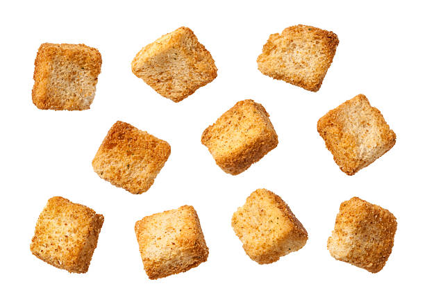 Ten Individual Croutons isolated stock photo