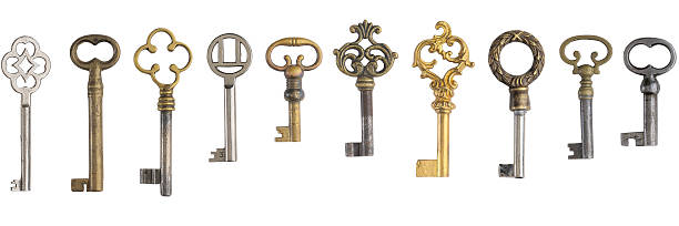 Ten keys on white background stok fotoğrafı