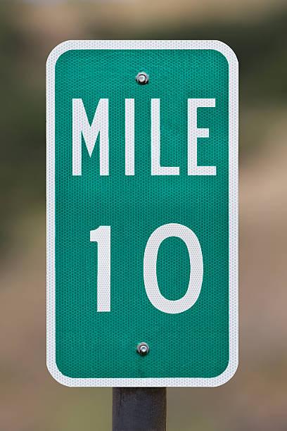 Ten Mile Marker Sign Post. stock photo