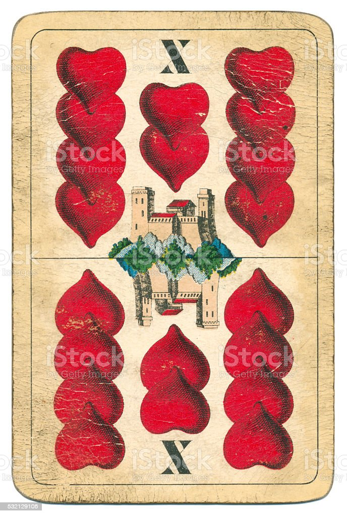 Ten of Hearts playing card William Tell Hungary 1890 stock photo