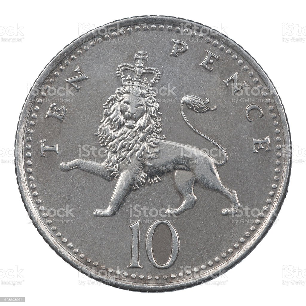 Ten Pence coin stock photo