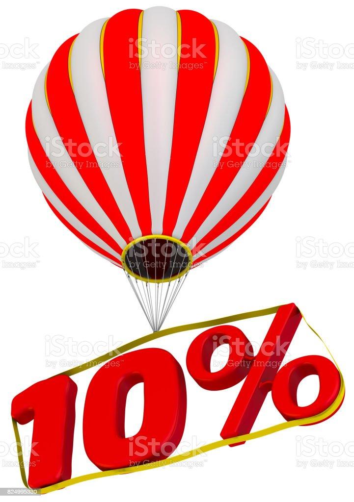 Ten percent flies in a hot air balloon stock photo