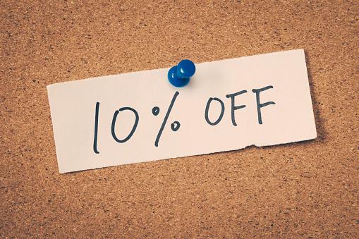 10 ten percent off
