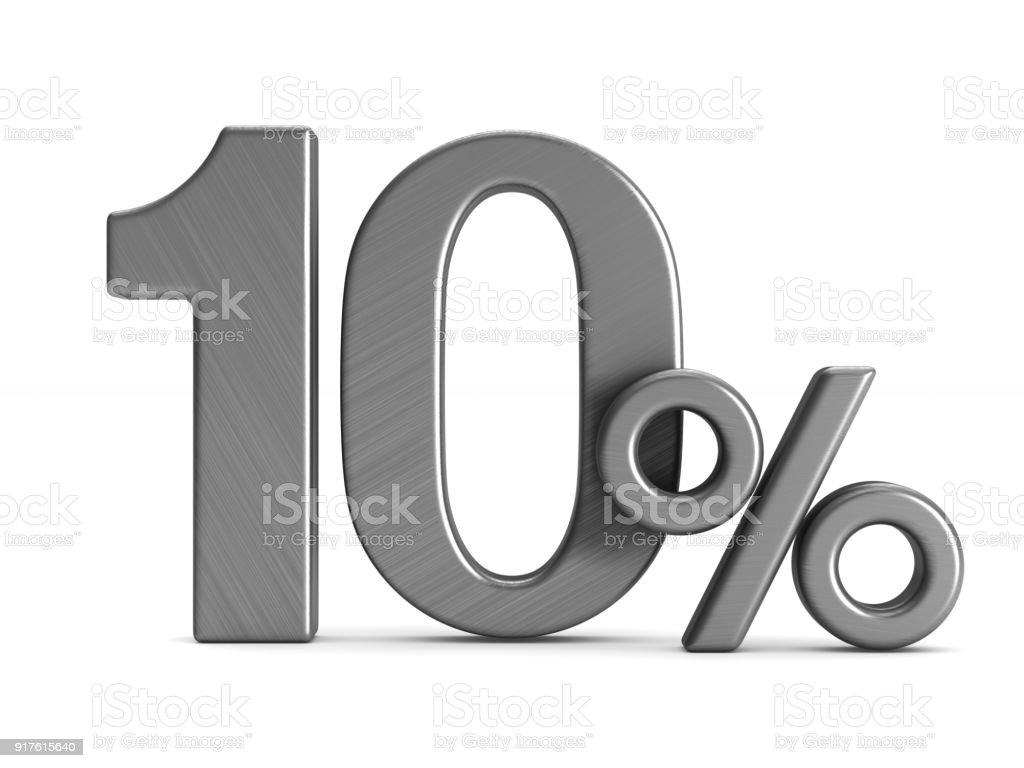 Zehn Prozent auf weißem Hintergrund. Isolierte 3D-Illustration – Foto