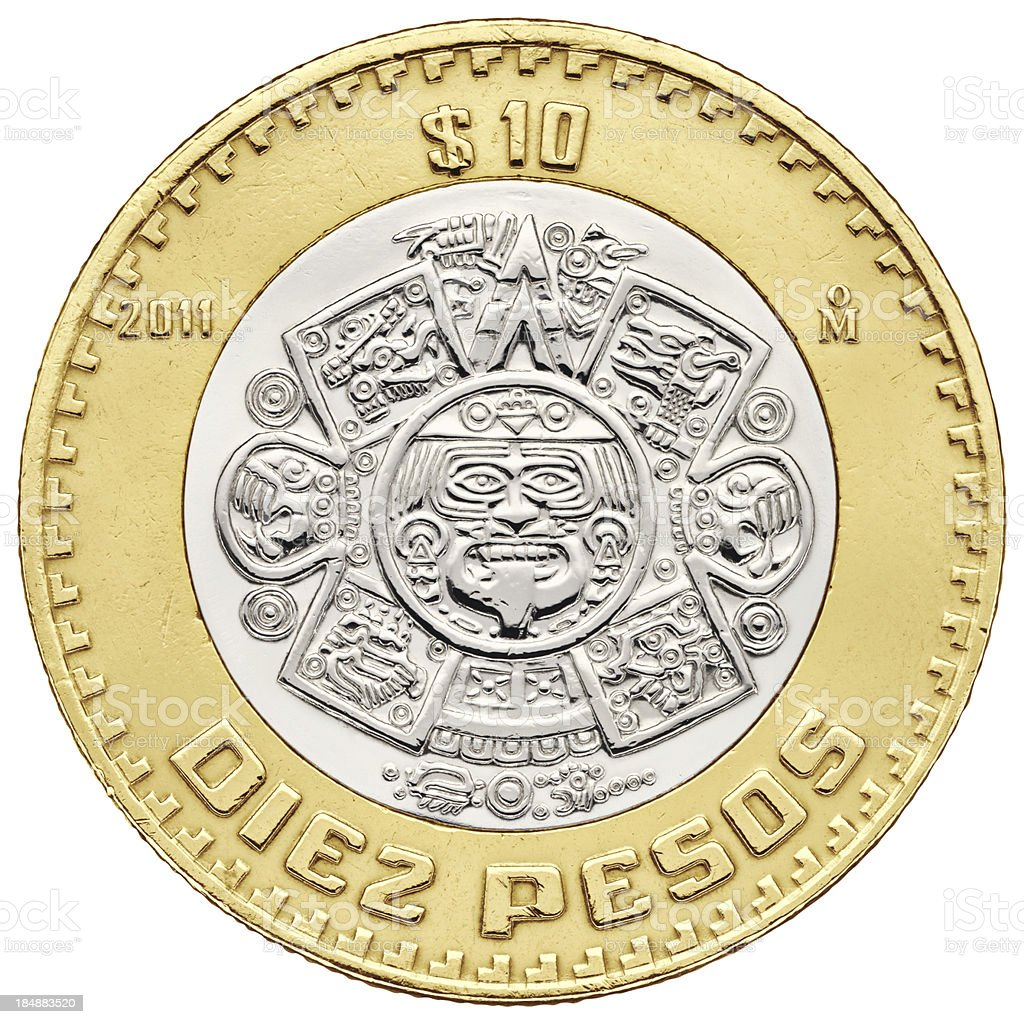 Ten pesos Mexican coin with clipping path stock photo