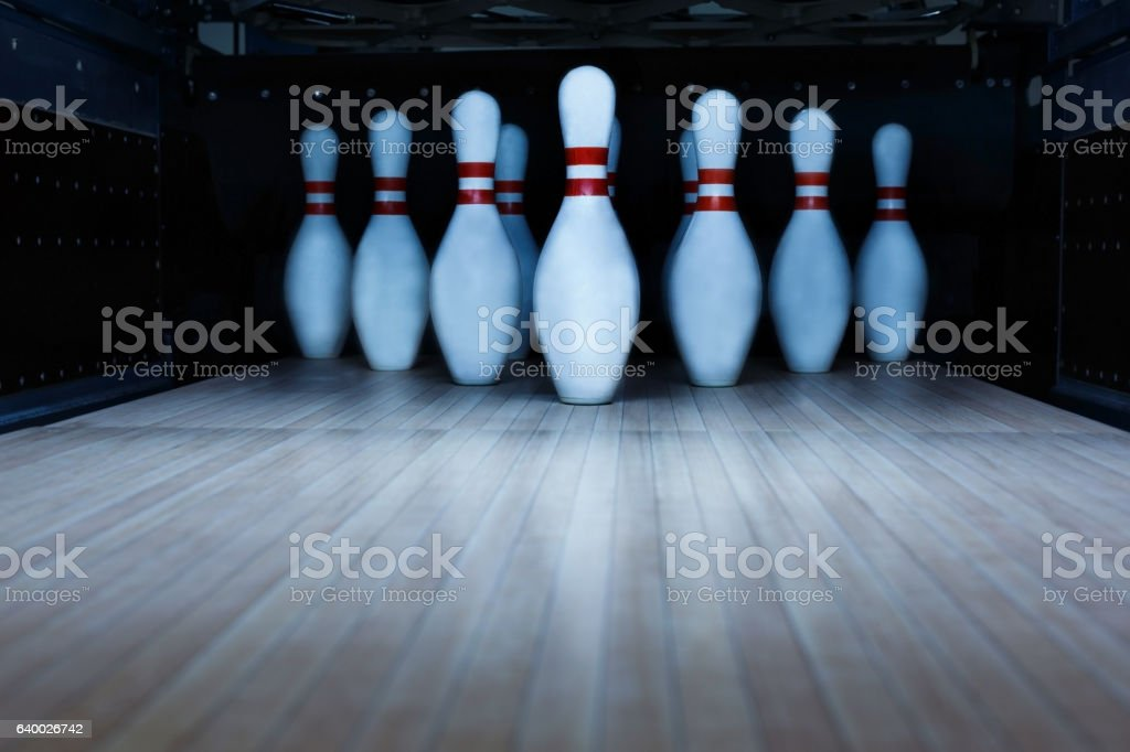 Ten pin bowling alley background stock photo