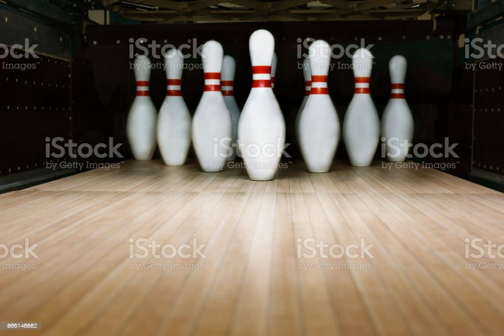 Ten pin bowling alley background - foto stock